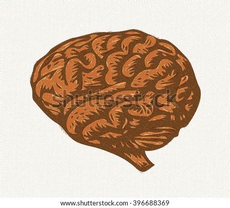 Halftone illustration of human brain, vector - stock vector