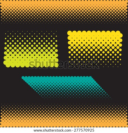 Halftone illustrator. Halftone dots.halftone effect. Halftone pattern. Vector halftone dots. Color dots on black background. Vector Halftone Texture - stock vector