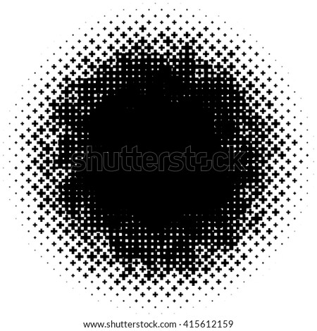 Halftone like element of crosses. Monochromatic abstract vector image.