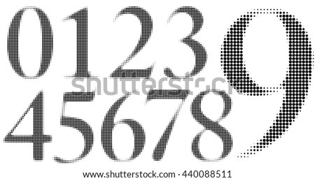 Halftone Numbers with circle dots in a blurred style. - stock vector