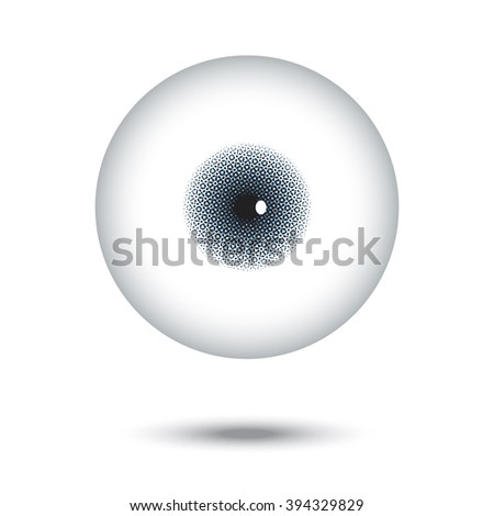 Halftone of corena and iris in big eye floating with shadow on white background - stock vector