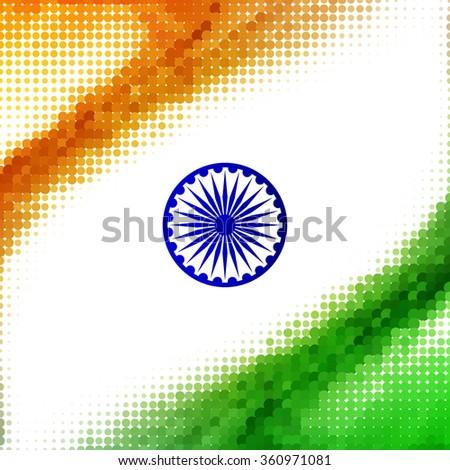 Halftone pattern tricolor Indian flag design - stock vector
