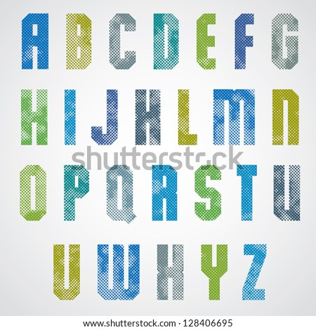 Halftone print dots textured font, uppercase letters, grunge aged macro style, geometric poster letters alphabet design. - stock vector