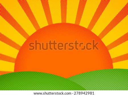 Halftone print styled sunrise over green hills - stock vector