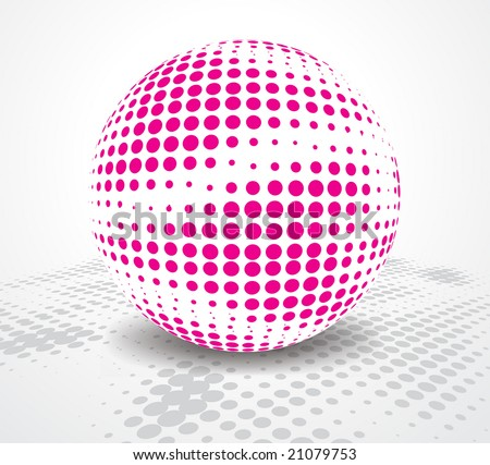 halftone retro party background with disco ball, illustration - stock vector