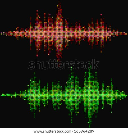 Halftone round vector elements.Vector colorful sound waves. Music round waveform background. You can use in club, radio, pub, party, marry Christmas or the audio technology advertising background.  - stock vector