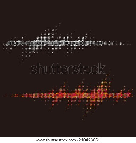 Halftone round vector elements.Vector sound waves. Music round waveform background. You can use in club, radio, pub, party, concerts, recitals or the audio technology advertising background.  - stock vector