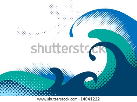 Halftone sea waves. Vector illustration - stock vector