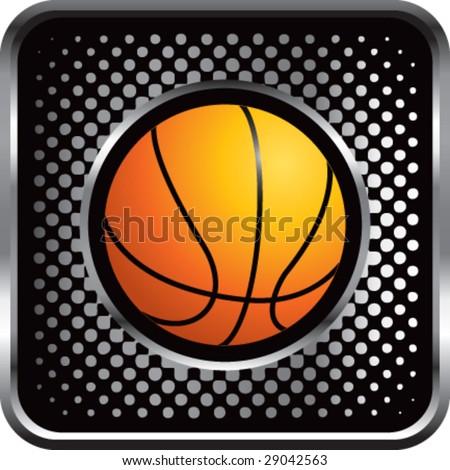halftone silver button basketball - stock vector