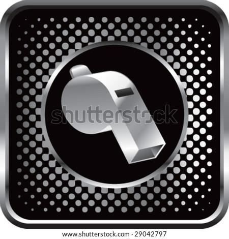 halftone silver button whistle - stock vector