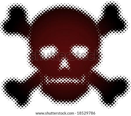 halftone skull (halftone design element set) - stock vector