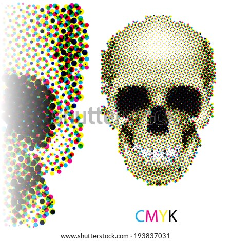 Halftone skull image in CMYK colors on white background - stock vector