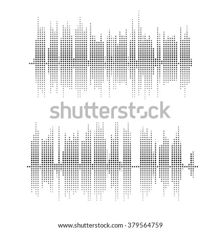Halftone square vector sound waves. Music round waveform background. You can use in club, radio, pub, party, concerts, recitals or the audio technology advertising background.  - stock vector