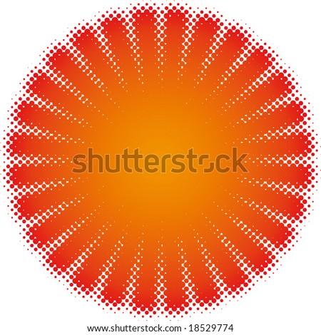 halftone sun (halftone design element set) - stock vector