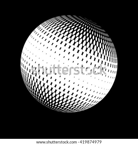 Halftone vector logo template. White round icon on black background, abstract globe symbol, business concept. Abstract white dotted sphere. Science, technology background