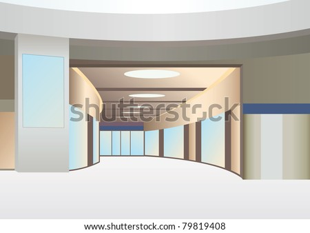 hall in trade center with corridor and windows, vector - stock vector