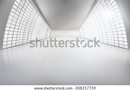 Hall, wide open space. Vector illustration. - stock vector