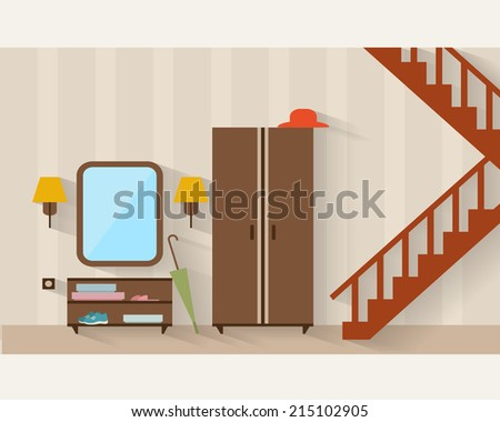 Hall with stairs and furniture and long shadows. Flat style vector illustration. - stock vector