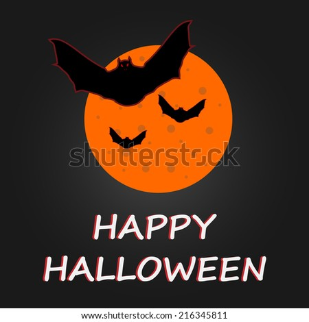 Hallaween bat to moon poster. Vector illustration. - stock vector