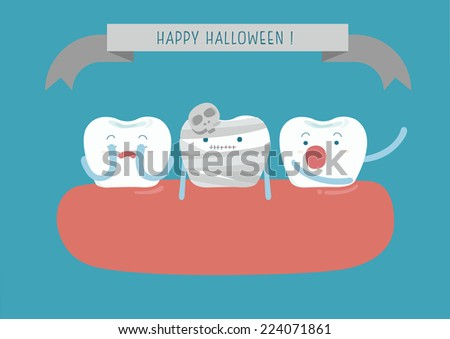 Hallo Halloween of dental - stock vector