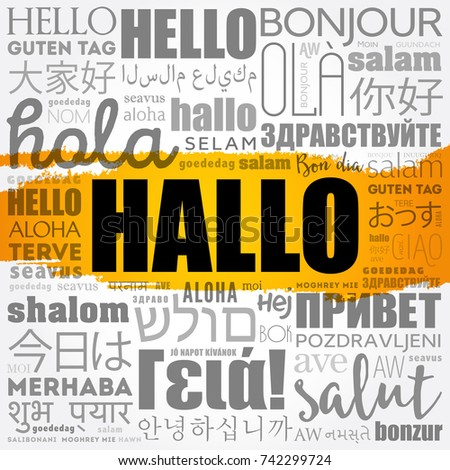 Hallo hello greeting german word cloud stock vector 742299724 hallo hello greeting in german word cloud in different languages of the world m4hsunfo