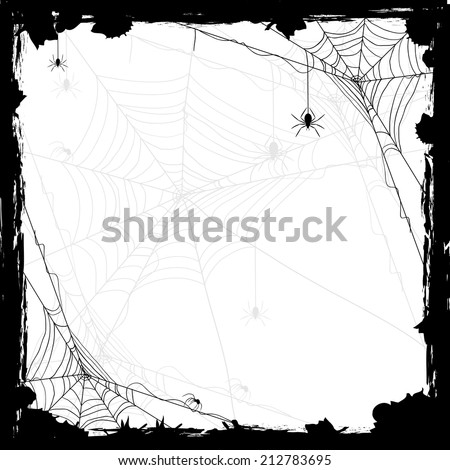 Halloween abstract background with black spiders, illustration. - stock vector