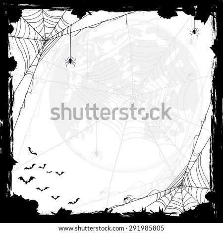 Halloween abstract background with Moon, black spiders and bats, illustration.