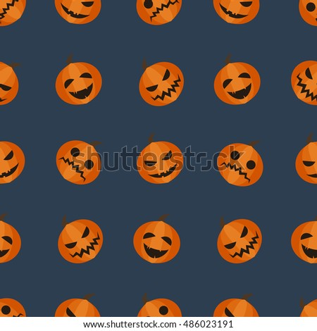 Halloween adorable seamless background. Pumpkin autumn harvest pattern isolated on dark blue background. Different facial expressions vector illustration.
