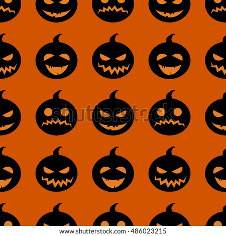 Halloween adorable seamless background. Pumpkin autumn harvest pattern with black silhouettes of pumpkin isolated on orange background. Different facial expressions vector illustration.