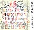 Halloween alphabet - vector illustration - stock vector