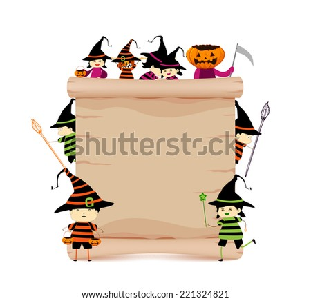 halloween and parchment sign funny - stock vector