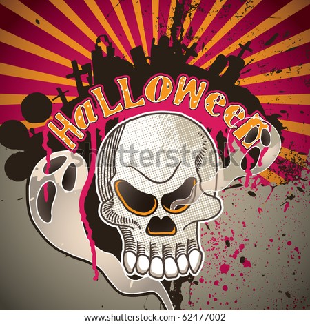 Halloween artistic banner. Vector illustration. - stock vector