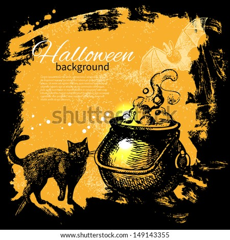 Halloween background. Hand drawn illustration	 - stock vector
