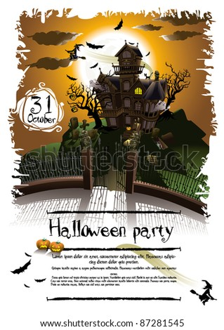 Halloween background illustration poster - stock vector