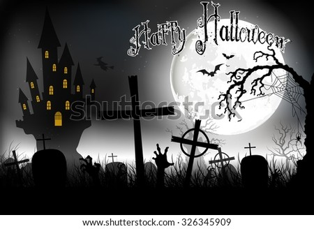 Halloween background night with in graveyard and scary house on the full moon. Vector
