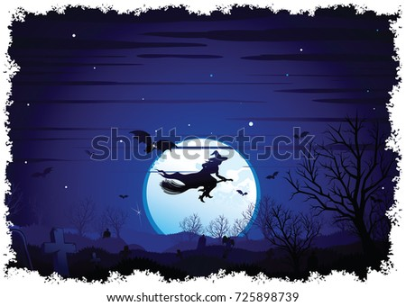 Halloween Background Scene flying Witch over full Moon