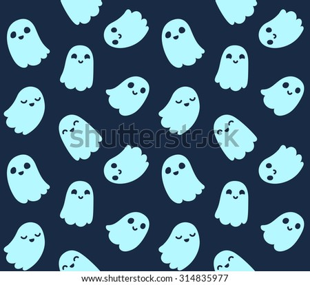 Halloween Background Seamless Pattern Cute Cartoon Stock
