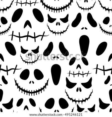Halloween background.Seamless vector pattern with halloween masks.Holiday print