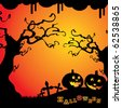 Halloween Background Template with Smiling Pumpkins, Trees and Crosses of a Cemetery in the Darkness - stock vector