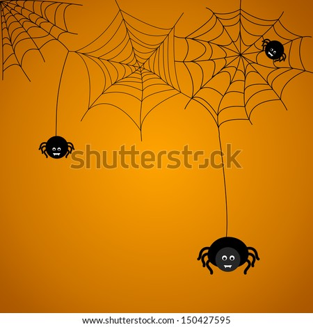 Halloween background. The spider weaves a web.  - stock vector