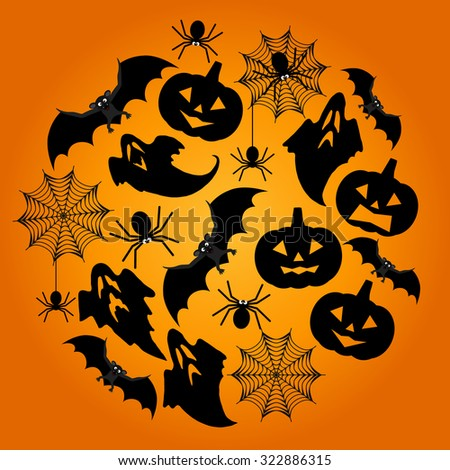 Halloween Background. Vector Halloween orange  background with spiderweb, spiders, bat, ghosts and pumpkins - stock vector