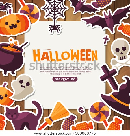 Halloween Background. Vector Illustration. Flat Halloween Icons with Square Frame. Trick or Treat Concept. Orange Pumpkin and Spider Web, Witch Hat and Cauldron. Wooden Backdrop. - stock vector
