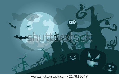 Halloween background, vector illustration with pumpkins and cemetery - stock vector