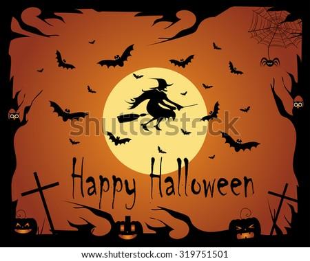 Halloween background vector witch with bats and owls - stock vector