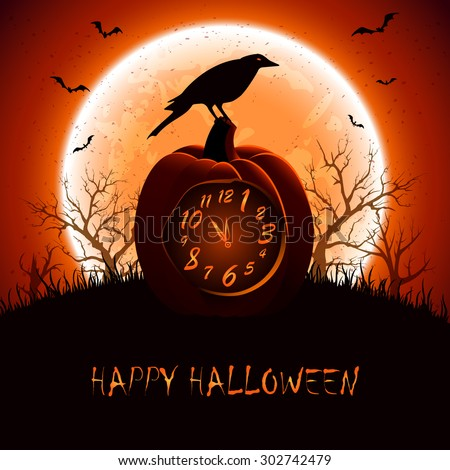 Halloween background with a crow sitting on the clock from the pumpkin, illustration. - stock vector