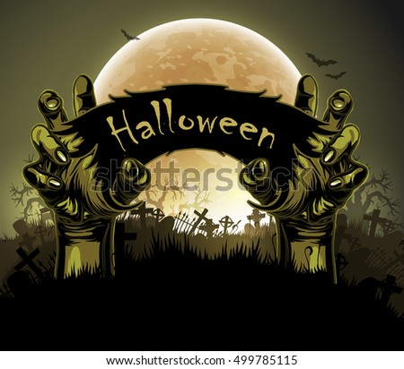 Halloween background with a silhouette of a hands against the backdrop of a large moon