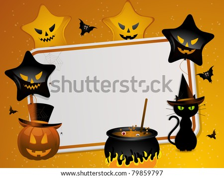 halloween background with area for message and pumpkin, black cat, cauldron, bats and balloons - stock vector