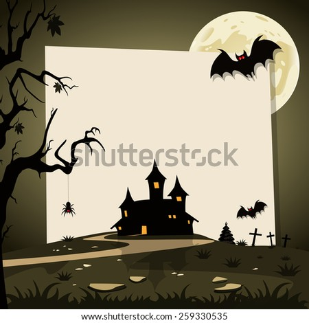 Halloween background with autumn landscape. Space for your Halloween holiday text - stock vector