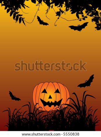 Halloween background with bats and pumpkin, vector illustration