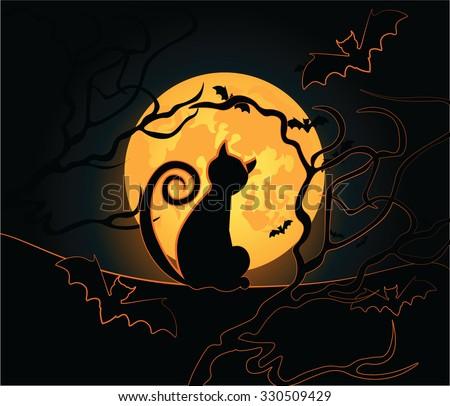 Halloween background with black cat, night moon, sky and bats. Vector - stock vector